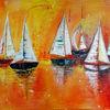 Gemälde, Malerei, Sonnenuntergang, Acrylmalerei