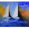 Acrylmalerei, Wandbild, Modernes künstler bild, Blau weiß orange
