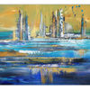 Gelb blau ocker, Handgemaltes acrylgemälde, Malerei, Wandbild