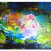 Originale gemälde, Wandbild, Abstrakte malerei, Malen