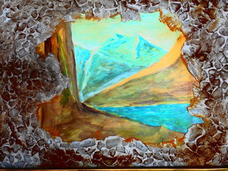 Eis, Zeit, Nähe, Mischtechnik, Grotte