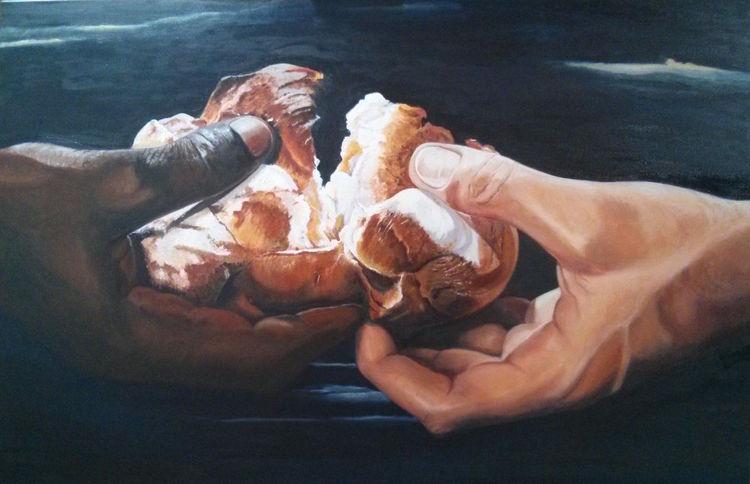 Hände, Realismus, Brot, Ölmalerei, Sakralkunst, Malerei