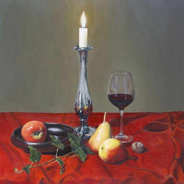 Malerei, Faltenwurf, Ölmalerei, Früchte, Fotorealismus, Birne