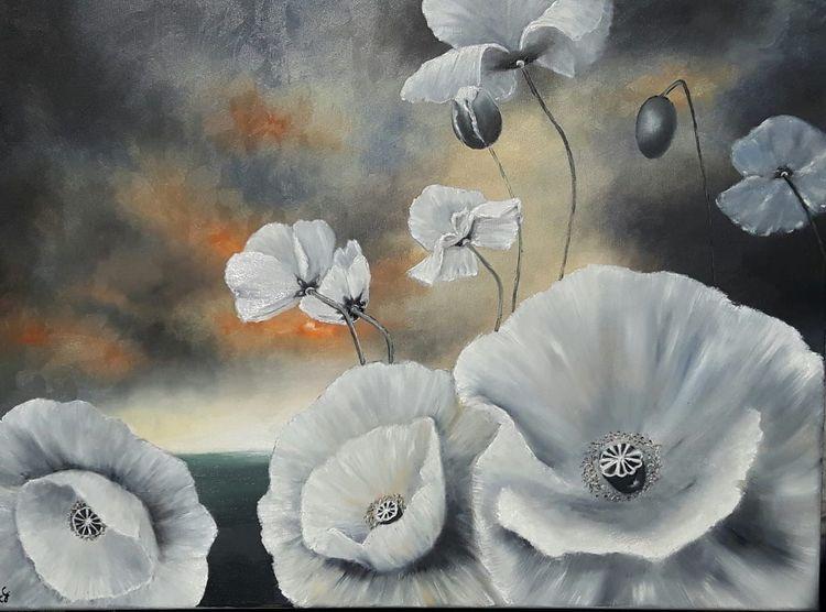 Malerei, Mohnblumen, Landschaft
