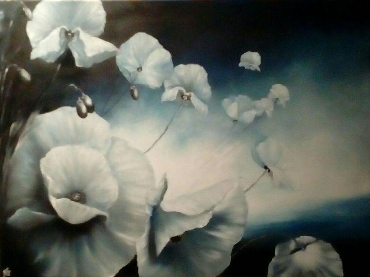 Weiß, Ölmalerei, Blumen, Mohnblumen, Mohn, Malerei
