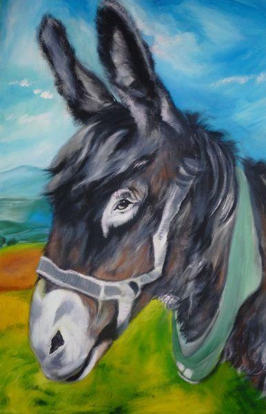 Esel tier porträt, Malerei, Tiere, Esel