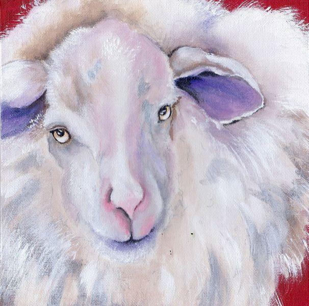 Schaf tier porträt, Malerei, Surreal, Schaf