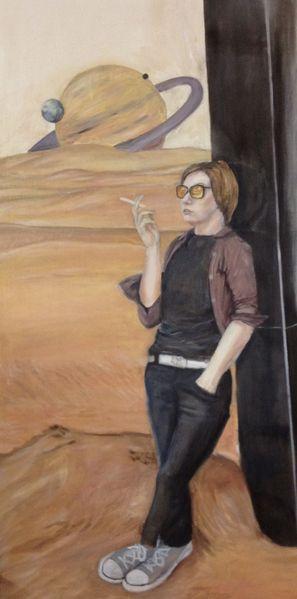 Planet, Science fiction, Wüste, Wissenschaft, Ölmalerei, Zigarette