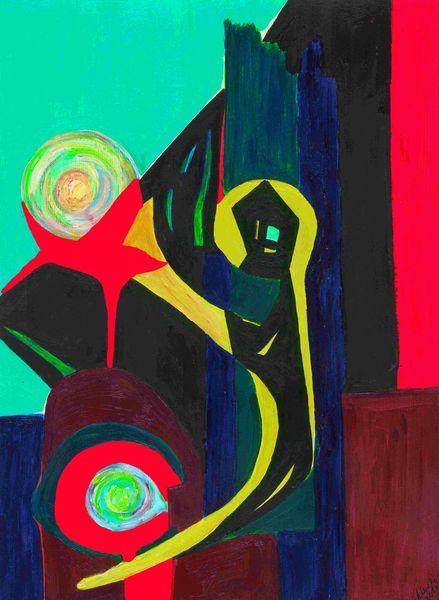 Farben, Formen, Grün, Pinsel, Symbol, Rot schwarz