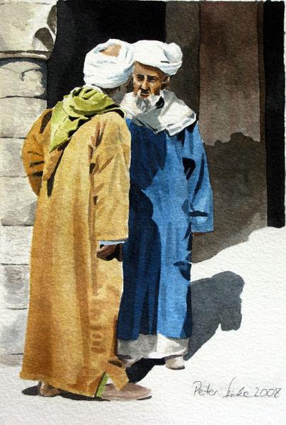 Kaftan, Aquarellmalerei, Turban, Menschen, Gespräch, Mann