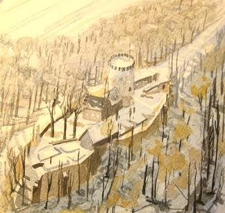 Kühle, Landschaft, Winter, Burg, Ravensberg, Schatten