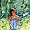 Kind, Aquarellmalerei, Sommer, Wald