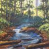 Ruhe, Landschaft, Fluss, Acrylmalerei