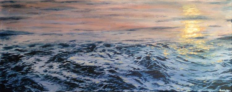 Welle, Wasseroberfläche, Acrylmalerei, Meer, Sonnenuntergang, Nordsee