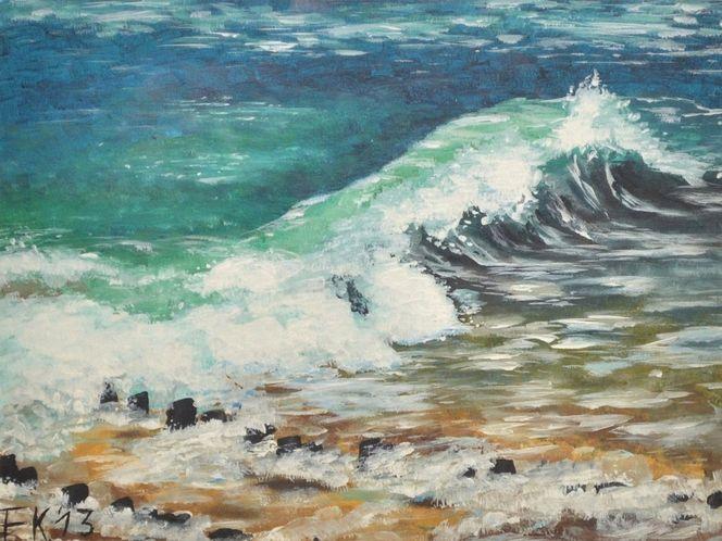 Acrylmalerei, Nordsee, Welle, Strand, Urlaub, Wasser