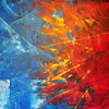 Abstrakt, Sonne, Spachteltechnik, Malerei