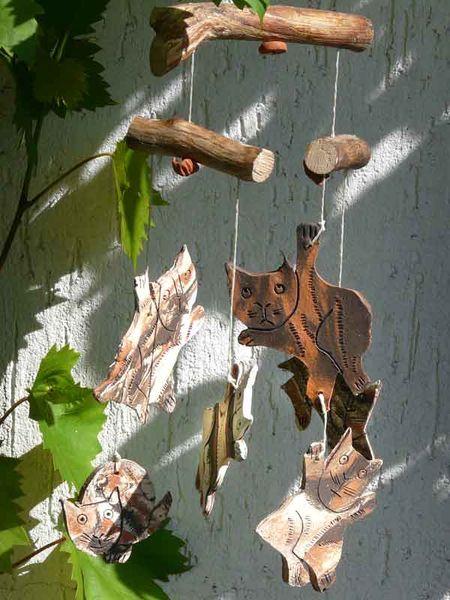 Handarbeit, Keramik, Windspiel, Katze, Gartenkeramik, Holz