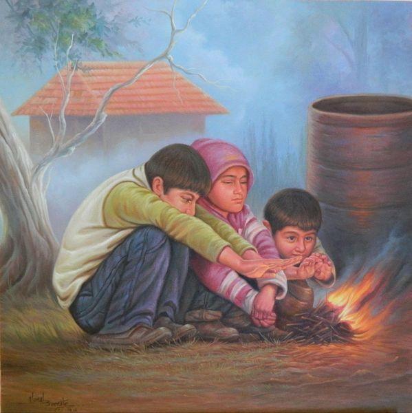 Portrait, Menschen, Young children, Zeichnung, Malerei,