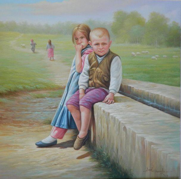 Village children, Portrait, Landschaft, Malerei, Menschen,