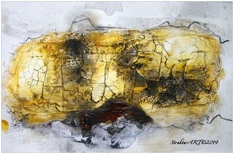 Marmormehl, Tuschmalerei, Beize, Kohlezeichnung, Pigmente, Gelb