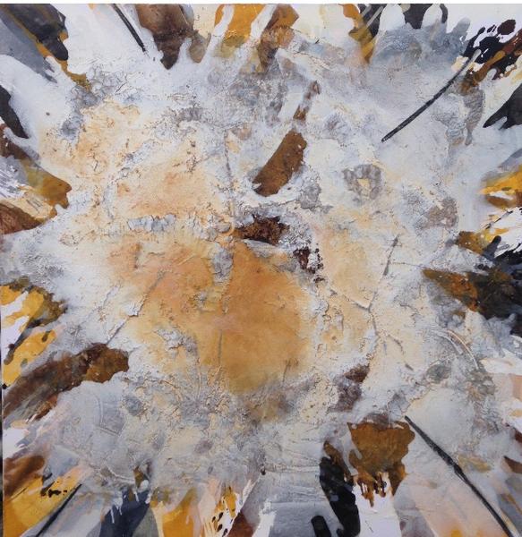 Ocker, Braun, Marmormehl, Schwarz, Acrylmalerei, Zeitgenössische kunst