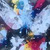Farbschüttungen, Acrylmalerei, Magenta, Abstrakt