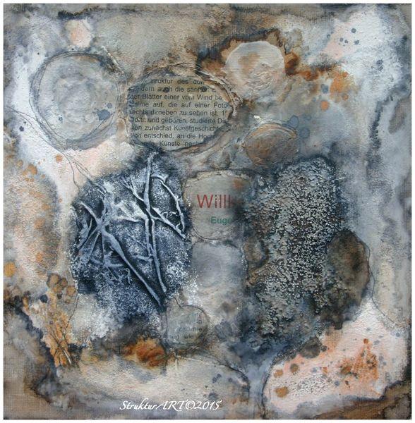 Zeitgenössische kunst, Zeitung, Beize, Struktur, Marmormehl, Wandfarbe