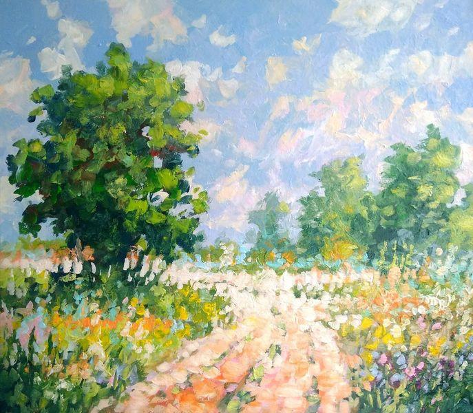 Sommer, Sonne, Blumen, Feldweg, Malerei