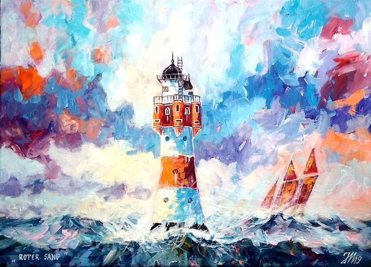 See, Leuchtturm, Nordsee, Sonnenuntergang, Malerei