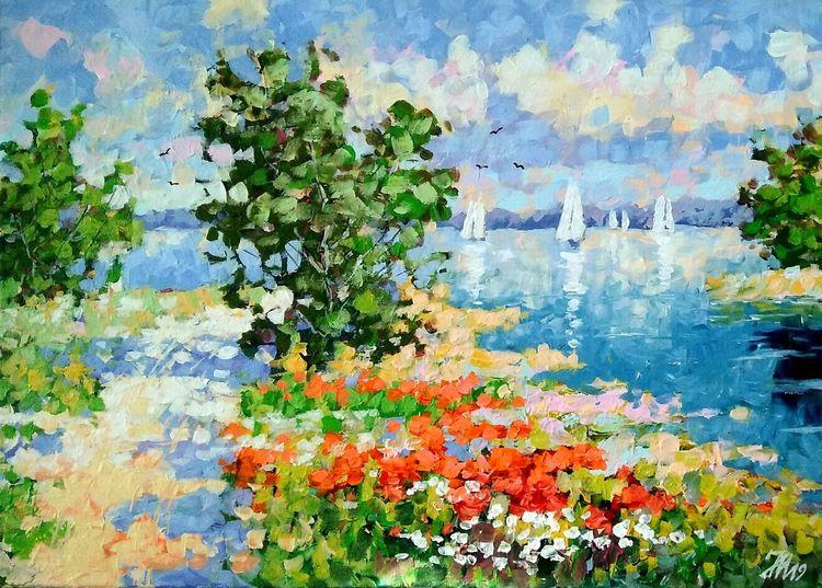 Seenlandschaft, Wiese, Am see, Mohnblumen, Mohnwiese, Malerei