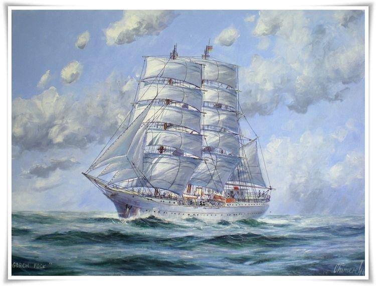 Segelschiff gorch fock, Malerei