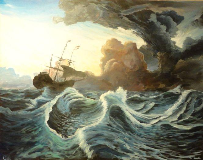 Meer, Sturm, Wolken, Segel, Flut, Malerei