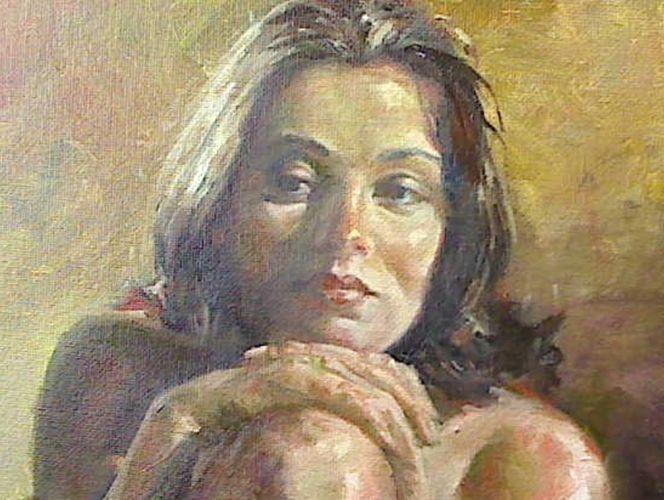 Prima, Portrait, Alla, Ölmalerei, Malerei