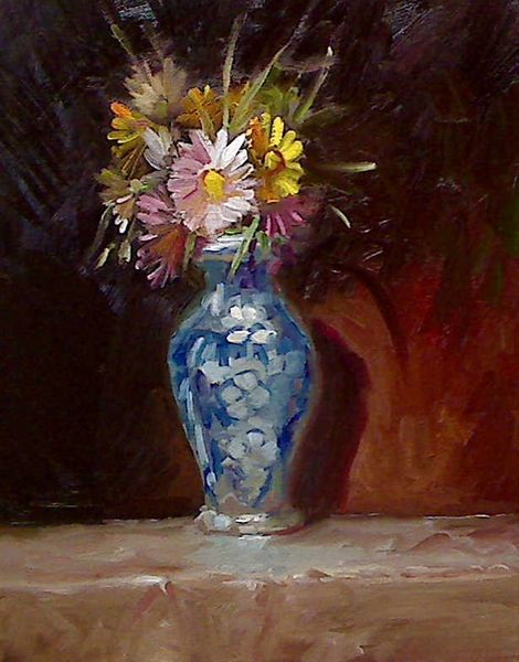 Gemälde, Stillleben, Blumen, Ölmalerei, Farben, Malerei
