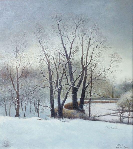 Baum, Ölmalerei, Winter, Landschaft, Malerei, Winterlandschaft