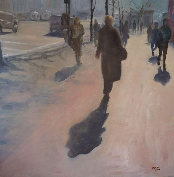 Morgen, Person, Licht, Prag, Tagesbeginn, Ölmalerei