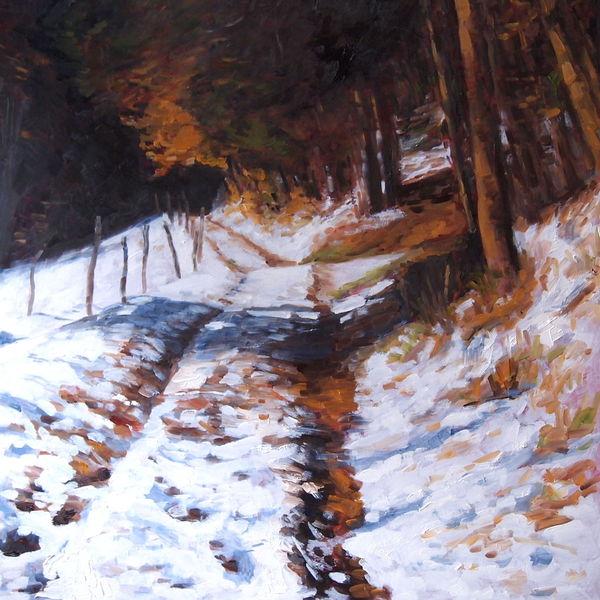 Landschaft, Impressionismus, Herbst, Natur, Schnee, Malerei