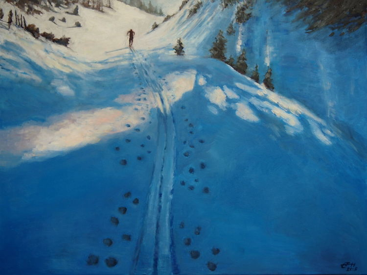 Sonne, Schnee, Malerei, Skitour, Winter, Schatten
