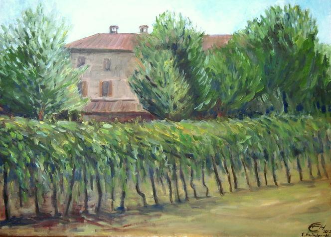 Villa grivo, Sommer, Friaul, Impressionismus, Villa, Faedis