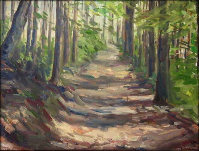 Wald, Ölmalerei, Weg, Malerei, Natur, Impressionismus