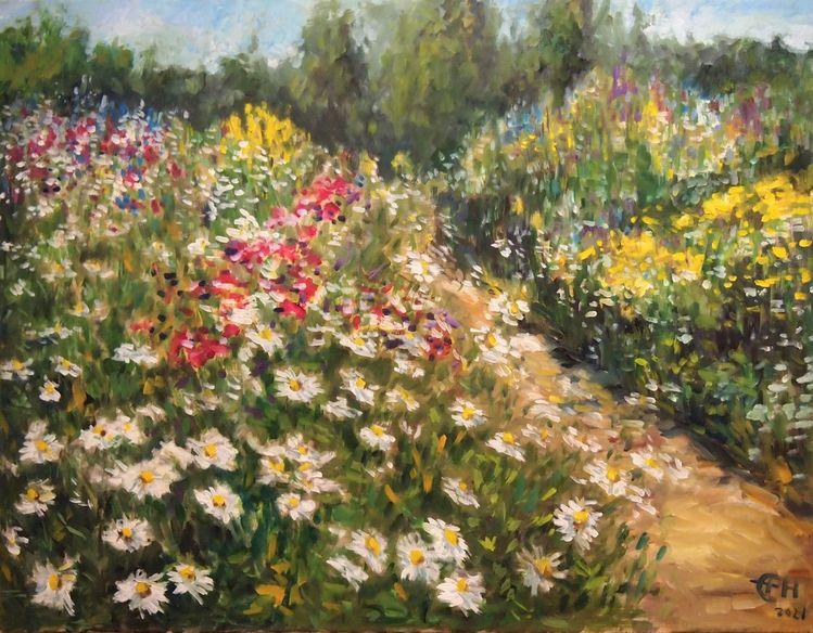 Immpressionismus, Blumen, Realismus, Landschaft, Wiese, Vegetation