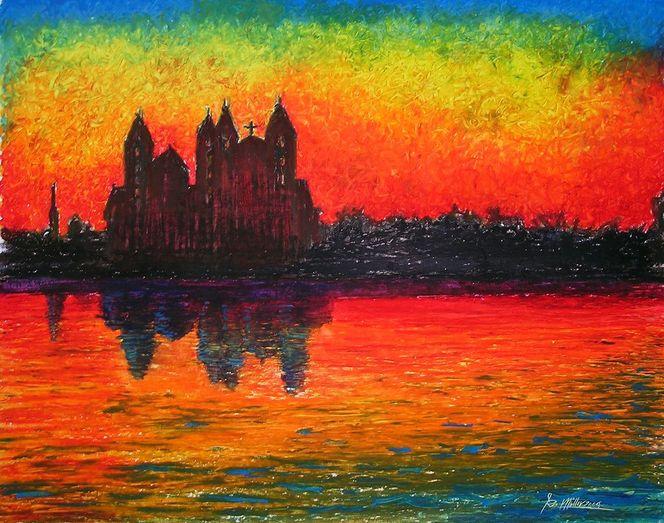 Landschaft, Natur, Architektur, Abendstimmung, Sonnenuntergang, Malerei