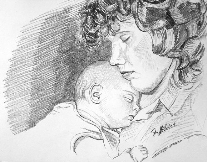 Mutter, Kind, Menschen, Portrait, Malerei