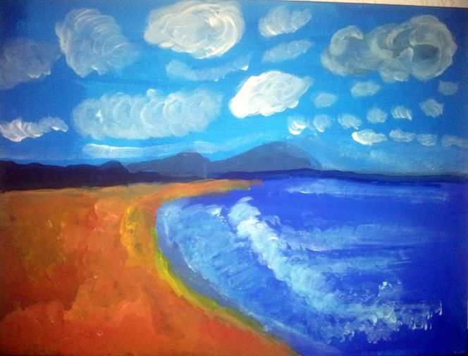 Malversuch, Griechenland, Meer, Acrylmalerei, Sand, Malerei
