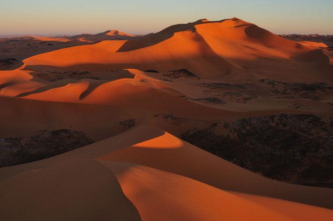 Wüste, Struktur, Dünen, Sahara, Monochrom, Südalgerien