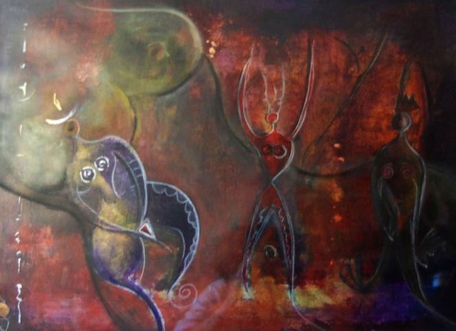 Göttin, Unterwelt, Bauchtanz, Malerei