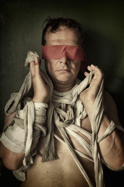 Mann, Sehen, Blindheit, Zwingen, Fessel, Fotografie