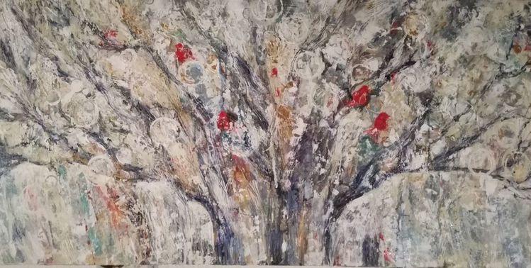 Lebensbaum, Vogel, Acrylmalerei, Gemälde, Abstrakt, Malerei