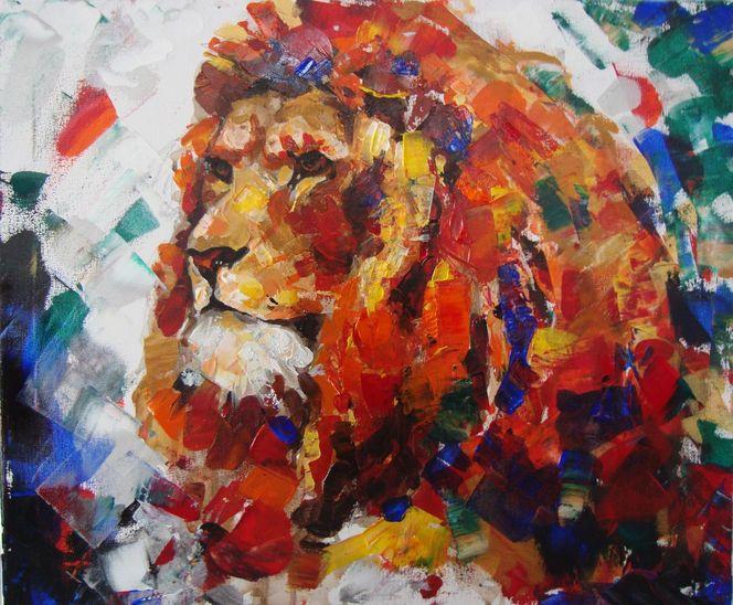 Tiere, Gemälde, Acrylmalerei, Löwe, Malerei