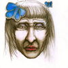 Schmetterling, Blau, Frau, Traurig